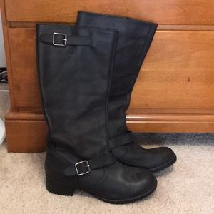 Shoes - Cute faux leather moto style slip on black boots